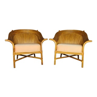 Vintage McGuire Style Rattan Club Chairs - A Pair For Sale