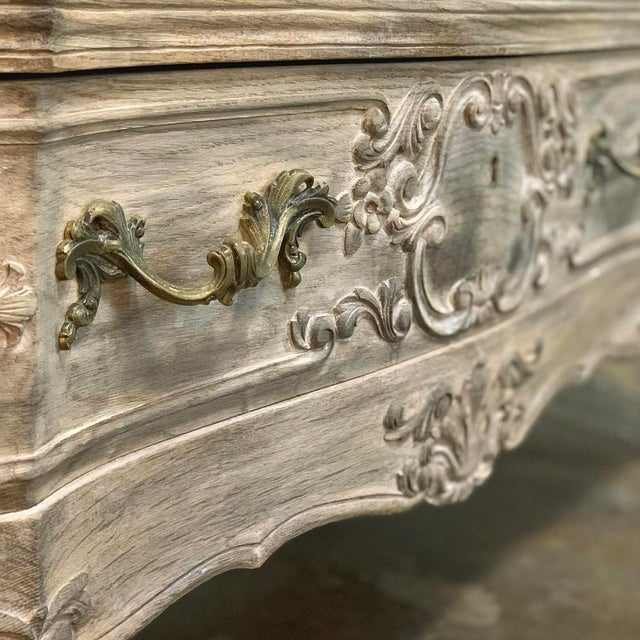 Antique Country French Whitewashed Oak Commode For Sale In Dallas - Image 6 of 13