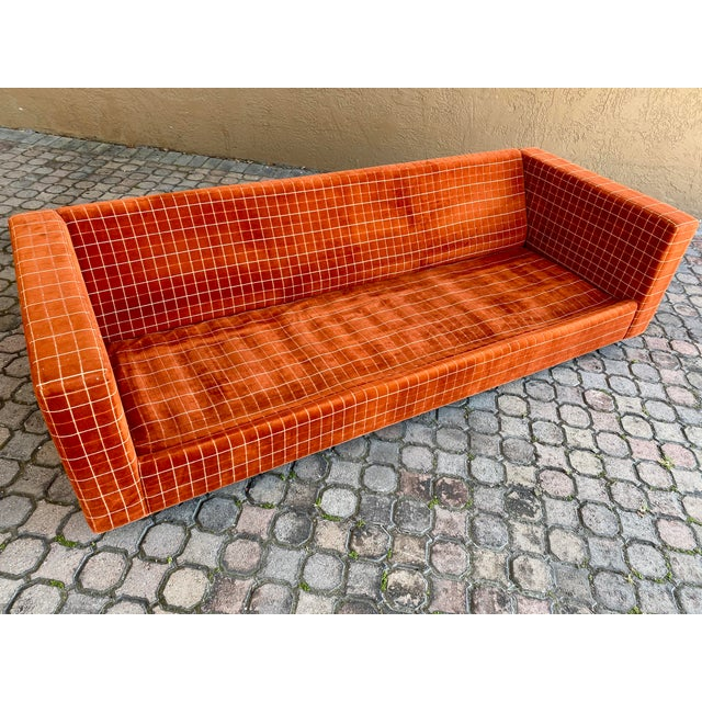 Textile 70s Orange Stripped Long Sofa Baughman/Probber Era For Sale - Image 7 of 9