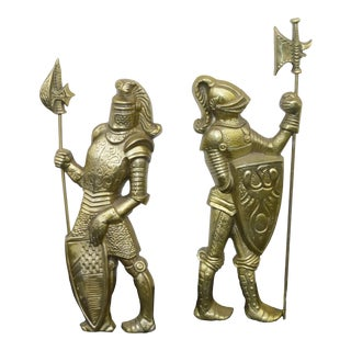 Vintage Renaissance Soldiers Medieval Knights Wall Plaques - a Pair For Sale