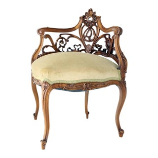 Carved Walnut Art Nouveau French Corner Chair For Sale