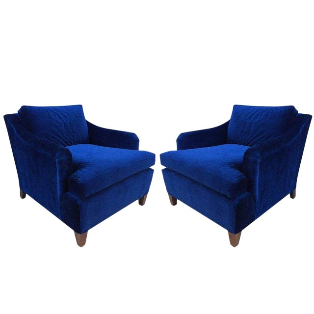 Pair of Art Deco Upholstered Lounge Chairs in Mohair For Sale