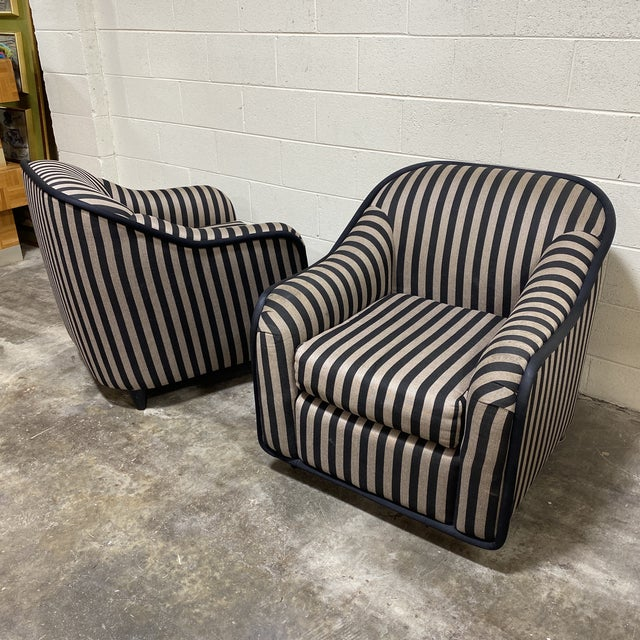 """""""Fendi"""" Striped Club Chair's - a Pair For Sale - Image 11 of 12"""