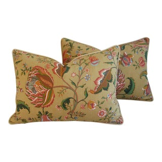 "Brunschwig & Fils Agra Tree of Life Floral Feather/Down Pillows 24"" X 18"" - Pair For Sale"