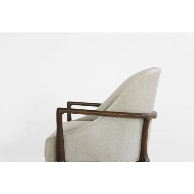 White Mid-Century Modern Walnut Lounge Chairs - a Pair For Sale - Image 8 of 13