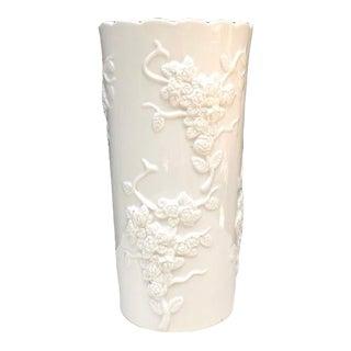 Vintage White Floral Relief Cylinder Vase For Sale