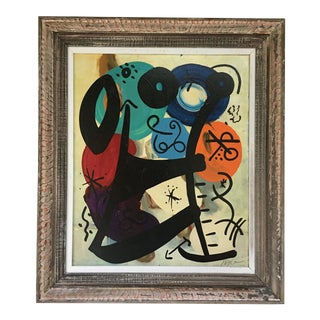 Miróvian Style Painting by Peter Keil - Framed For Sale
