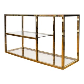 Milo Baughman Style Brass, Glass Console or Etagere with Removable Tinted Mirror.