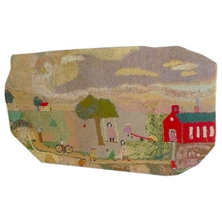 Rug, Hooked, School Yard Setting, Folk Art Free Form, Early 20th Cent, Wall Art For Sale