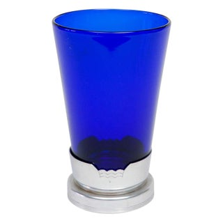 1930s Blue Glass Vase in Kensington Stand For Sale