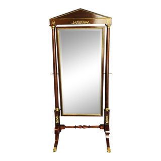 Empire Cheval Floor Full Length Mirror With Bronze Mounts, 19th- For Sale