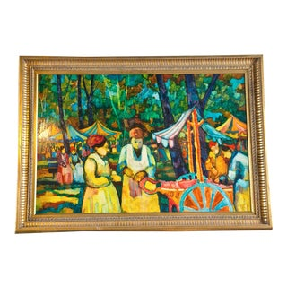 """Market Scene"" Oil Painting on Masonite by Donald Purdy For Sale"