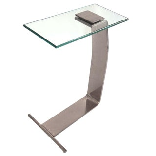 Nickel and Glass Side Table by Design Institute of America For Sale