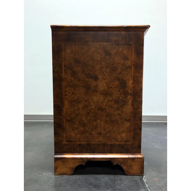 2010s Chippendale Inlaid Banded Burl Wood Serpentine Four Drawer Dresser Chest For Sale - Image 5 of 13
