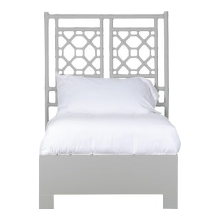 Lattice Back Bed Twin Extra Long - Light Gray For Sale