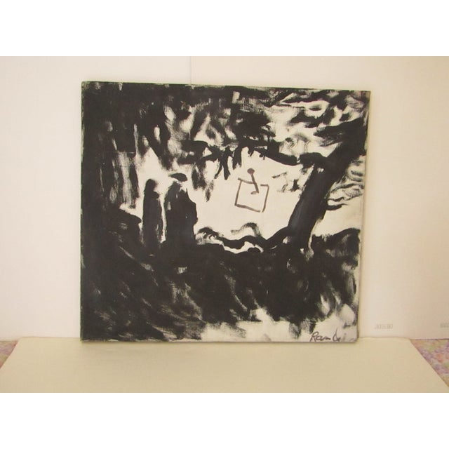 1970s Abstract Signed Original Black and White Oil Painting For Sale - Image 5 of 7