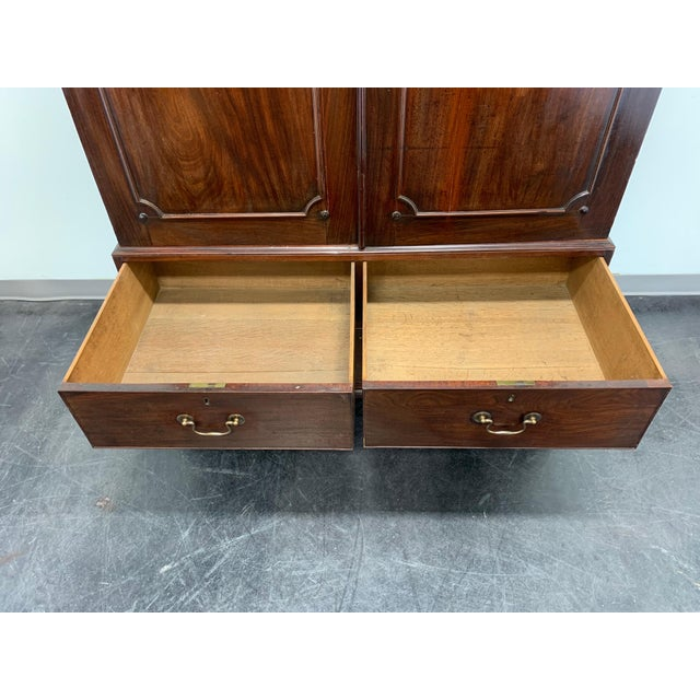 Gold Antique Late 18th / Early 19th Century Walnut & Mahogany Chippendale Linen Press For Sale - Image 8 of 13