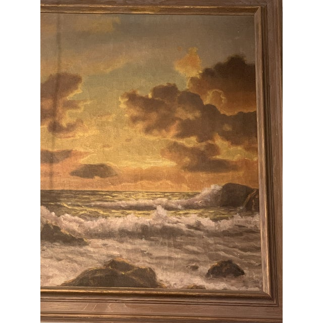 Mid 20th Century Vintage Mid-Century Framed Sunset Seascape Oil on Canvas Painting For Sale - Image 5 of 6