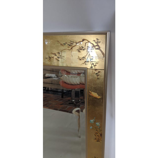 La Barge La Barge Chinoiserie Reverse Hand Painted Eglomise Mirror For Sale - Image 4 of 12