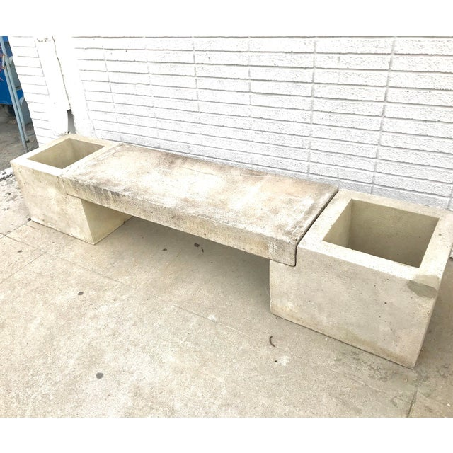 Contemporary Mid Century Modern Concrete Planter Bench For Sale - Image 3 of 7