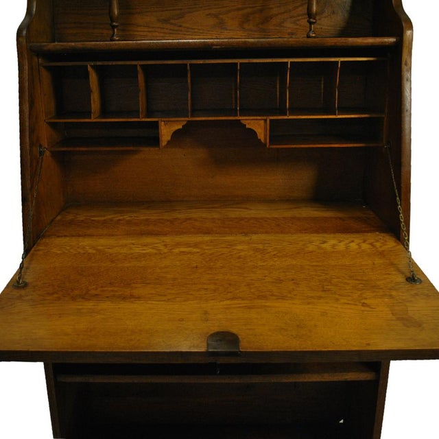 Antique Signed Victorian Larkin Oak Drop Front Secretary Desk With Bookcase For Image 6