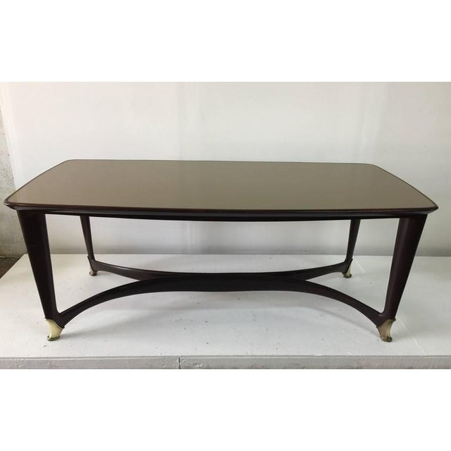 Paolo Buffa Reverse Painted Top and Walnut Italian Dining Table - Image 2 of 8