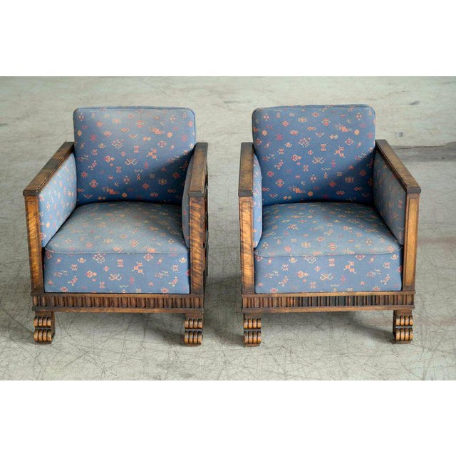 Axel Einar Hjorth Flamed Birch Lounge or Club Chairs, Sweden, 1930s - a Pair For Sale - Image 9 of 13