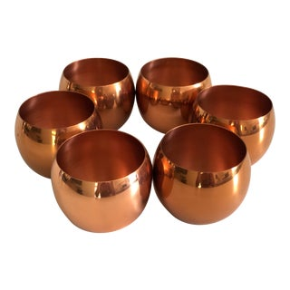 Vintage Coppercraft Copper Roly Poly Cocktail Tumblers Cups - Set of 6 For Sale