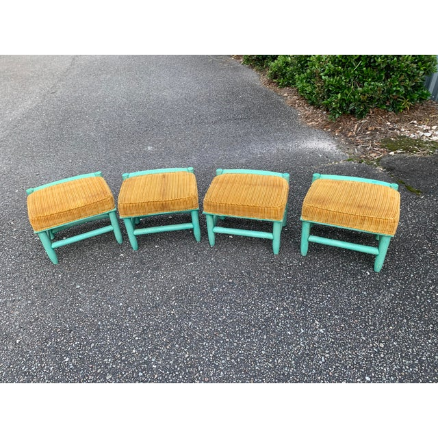 Turquoise Final Markdown Vintage Palm Beach Regency Wicker Bamboo Table and Chairs - 5 Pieces For Sale - Image 8 of 13