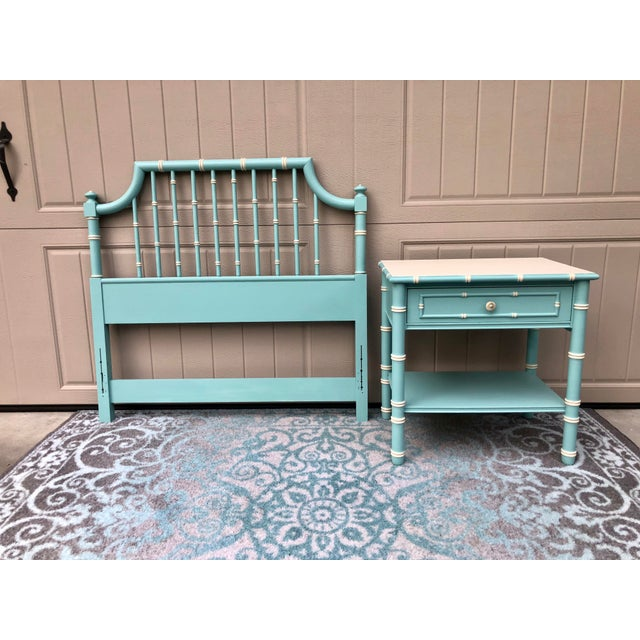 Hollywood Regency Faux Bamboo Twin Headboard and Nightstand Set - 2 Pieces For Sale - Image 11 of 12