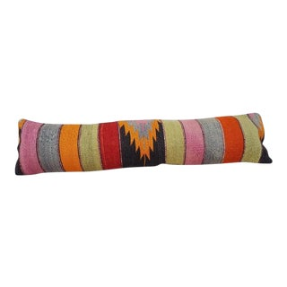Handwoven Wool Kilim Pillow Cover For Sale