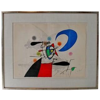 Mid-Century Modern Joan Miro Signed Numbered La Megere Et La Lune 22/50 1973 Coa For Sale