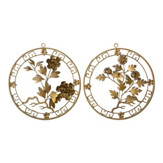1950s Mid-Century Modern Brass 3d Floral Wall Hangings - a Pair For Sale