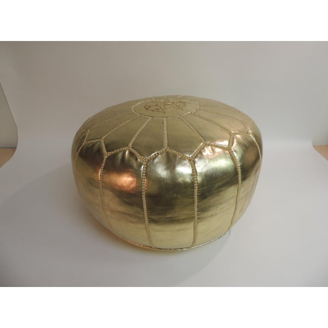 Round Boho Chic Gold Moroccan Ottoman For Sale - Image 5 of 5