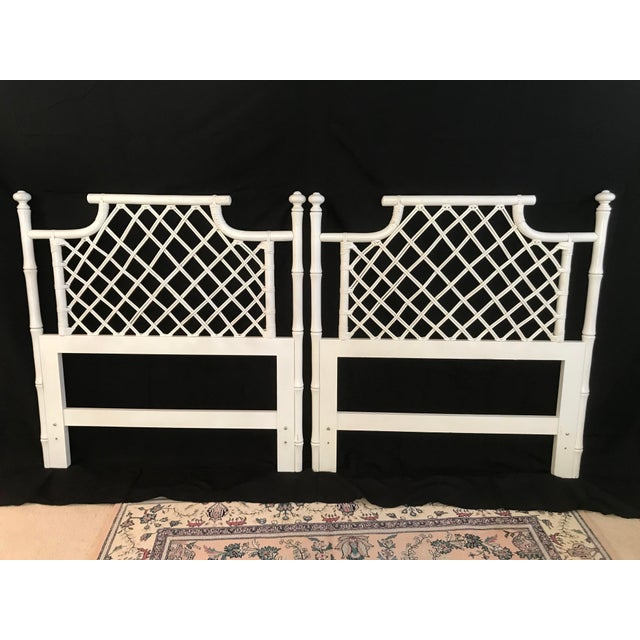 1970s Ficks Reed Twin or King Faux Bamboo Hollywood Regency Pagoda Headboards - a Pair For Sale - Image 13 of 13