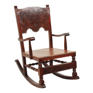 1890s Victorian Leather Rocking Chair For Sale