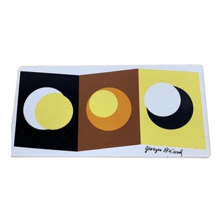 1960s Vintage Mid Century Georges Briard Pop Art Enameled Tiles - Set of 3 For Sale