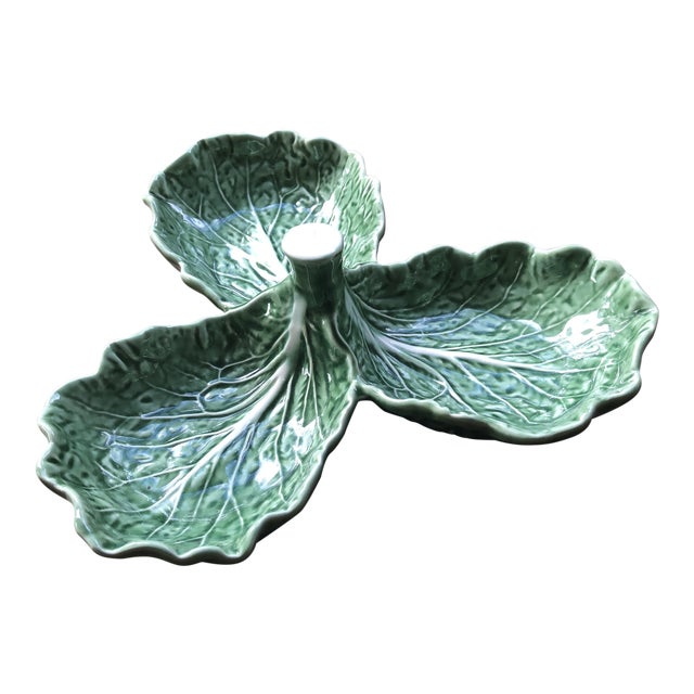 Majolica Bordallo Pinheiro Cabbage Leaf Olive Tray For Sale