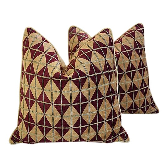 """Diamond Chenille & Velvet Feather/Down Pillows 24"""" Square - Pair For Sale - Image 12 of 14"""