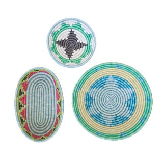 Handwoven Rwandan Multicolor Sweetgrass Coil Baskets - Set of 3