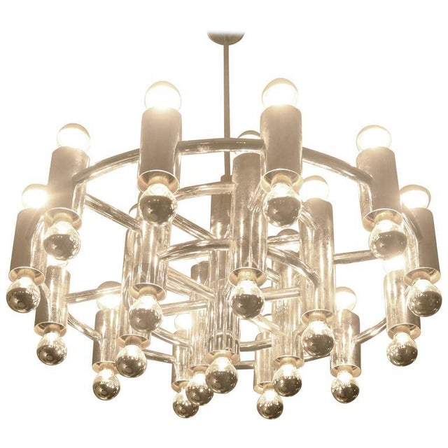 Extra Large Chrome-Plated Chandelier with 37-Light Fixtures For Sale - Image 9 of 9