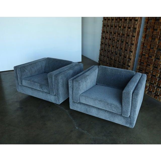 Wood 1960s Harvey Probber Grey Mohair Lounge Chairs - a Pair For Sale - Image 7 of 13