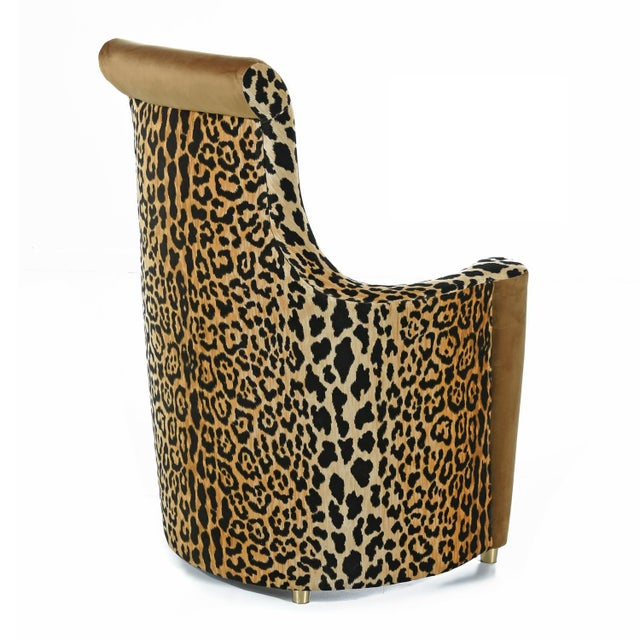 Scroll Headrest Neo Deco Velvet Leopard Print High Back Lounge Chairs For Sale - Image 4 of 9