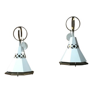 Rare Paul Laszlo White Aluminum & Brass Sconces - a Pair For Sale