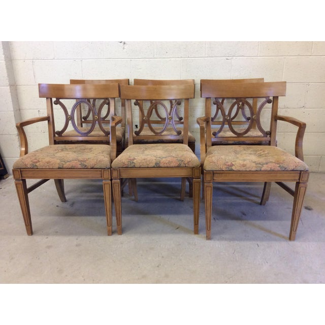 Regency Style Wood Dining Chairs with Brass Accents - A set of 6 - Image 2 of 11