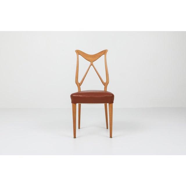 Brown 1970s Oak & Leather Dining Chairs in the Style of Ponti - Set of 6 For Sale - Image 8 of 12