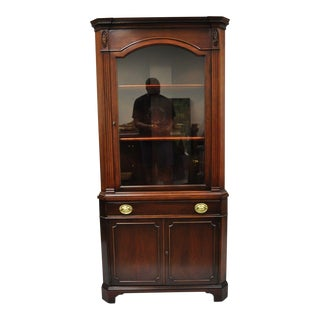 Drexel New Hampton Court Mahogany Glass Door Corner China Cabinet Cupboard For Sale
