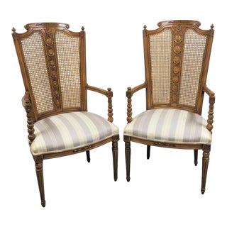 Louis XIV Carved Fruitwood Arm Chairs - a Pair For Sale