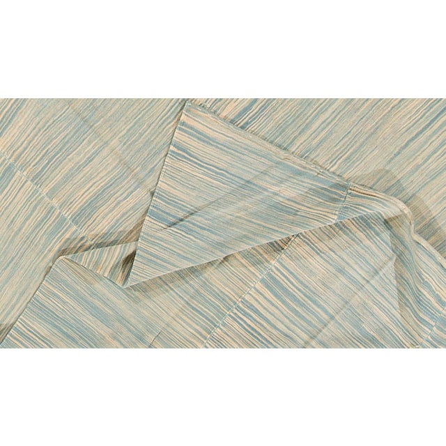 """Contemporary Turkish Kilim rug with a teal and cream field, 6'8""""x10'11"""""""