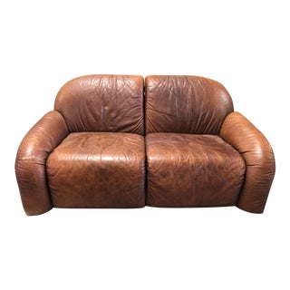 1970's French Leather Loveseat For Sale